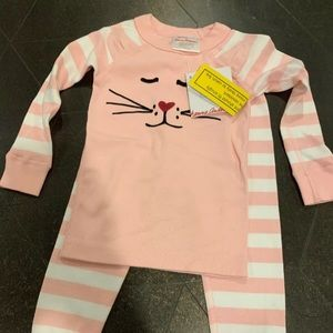Hanna Andersson pink cat kitty pajamas size 2